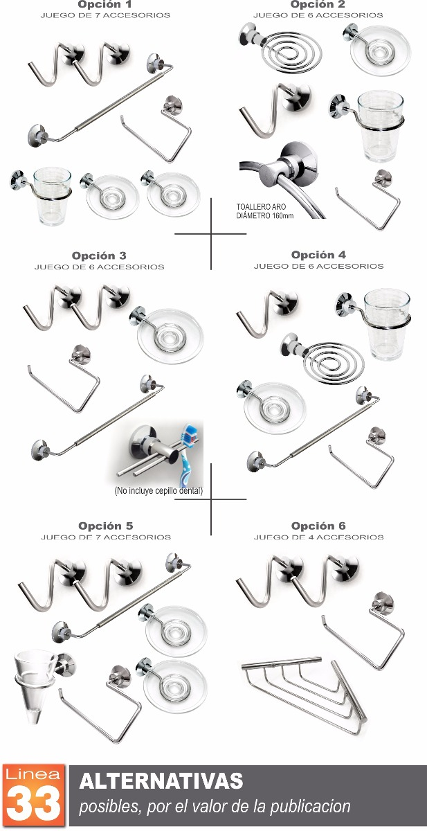 Accesorios de ba o de acero inoxidable for Kit accesorios para bano