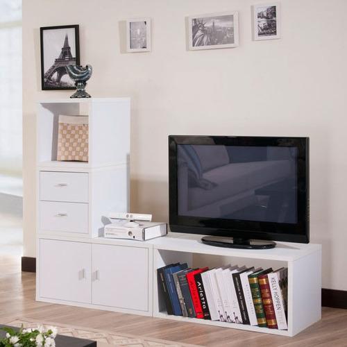 biblioteca modular tv mesa tv rack organizador  minimalista