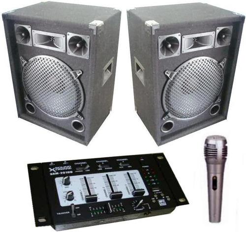 combo 2  bafles + amplificador inc + consola usb + mic