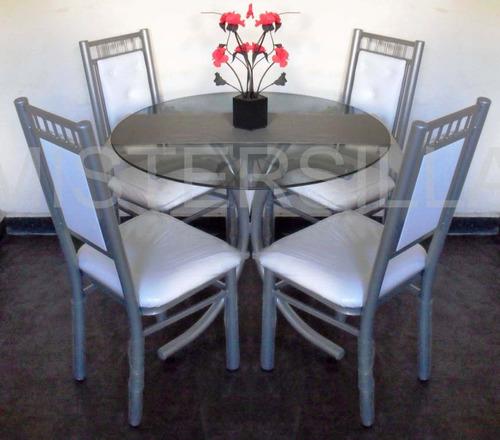 Juego comedor 4 sillas imperiales mesa vidrio redonda 1m for Juego de comedor de vidrio precios