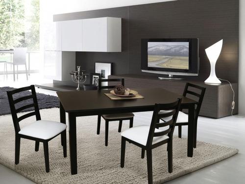 juego mesa madera + 4 sillas madera paraiso macizas laqueado