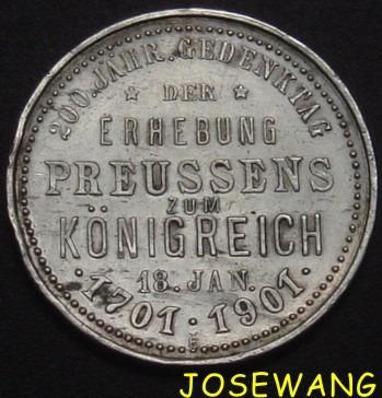 moneda de medalla alemana del año 1701-1901 plata