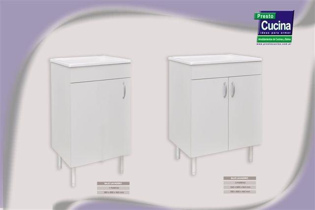 Mueble De Lavadero Con Mesada Blanco 40cm Amoblamientos Fl  $ 1690