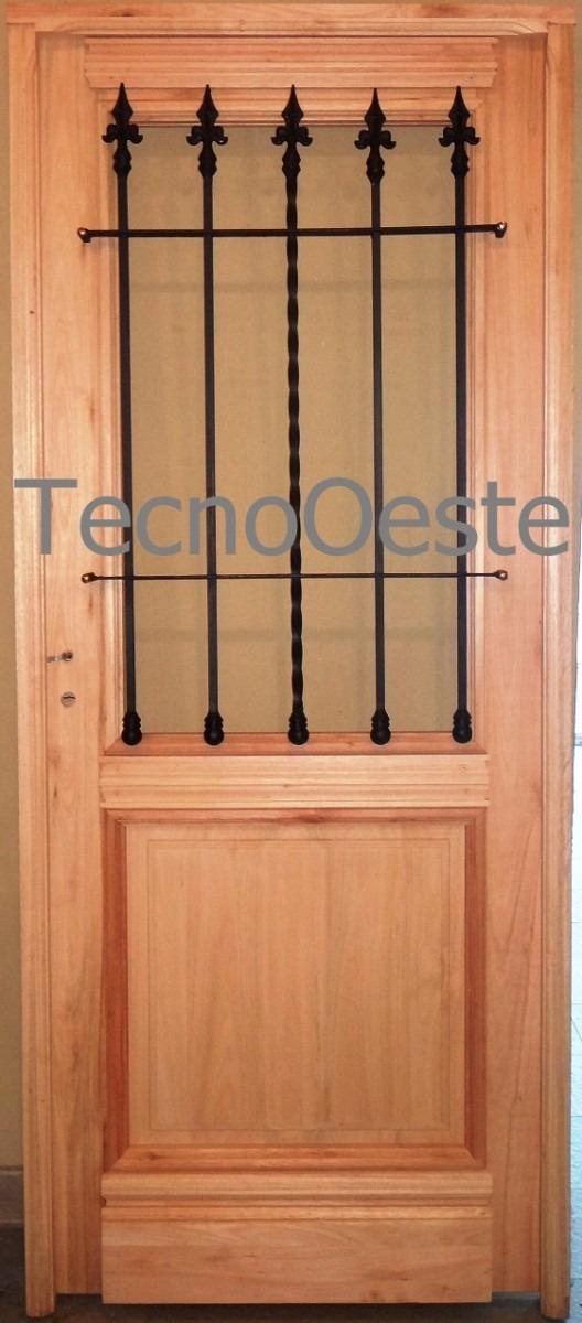 Puerta madera exterior 1 2 reja maciza colonial antigua for Precio puerta madera maciza