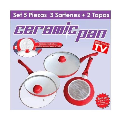 set 3 sartenes ceramicas ceramic pan originales tv + 2 tapas