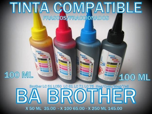 tinta genérica brother / 4 colores x 100 ml / envio s/c